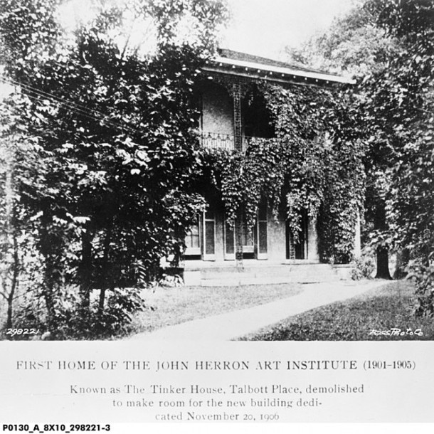 The Tinker House became the home and studio of artist T. C. Steele and Herron Art Institute (Bass Photo Company image, INDIANA HISTORICAL SOCIETY)
