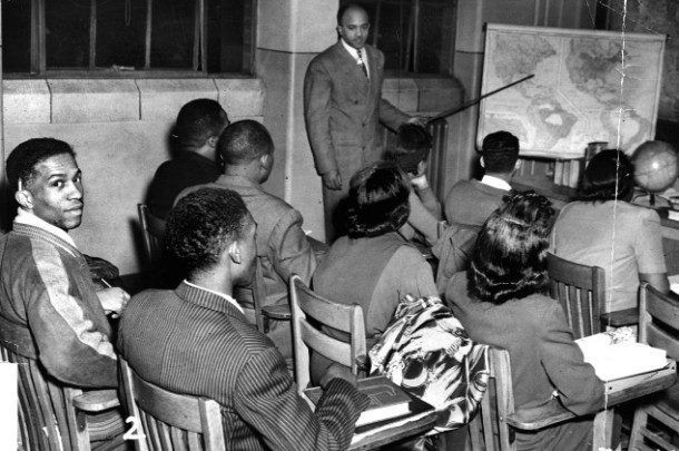 Classroom at Crispus Attucks High School, 1948. (Indianapolis Recorder Collection, Indiana Historical Society).