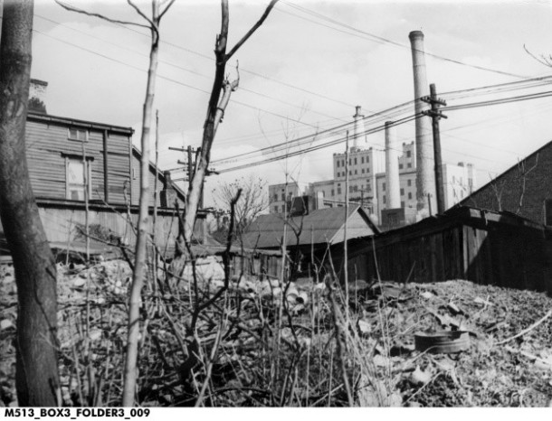 Ca. 1950, Slums with Methodist Hospital in the background. Indiana Historical Society.