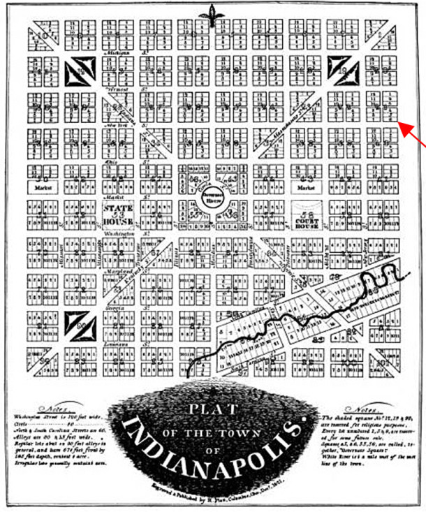 The lot at New York and East Streets was on the eastern edge of Alexander Ralston's 1821 Plat of the Town of Indianapolis (map courtesy of WikiMedia)