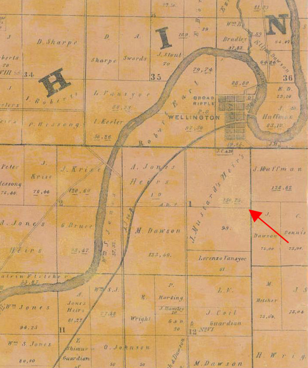 1855 Map shows the land purchased by James Mustard south of Broad Ripple (map courtesy of Indiana State Library)