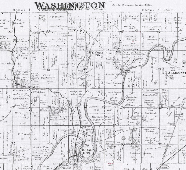 "A portion of the 1889 Washington Township Atlas. The cemetery is located near the ""19"" on the map."