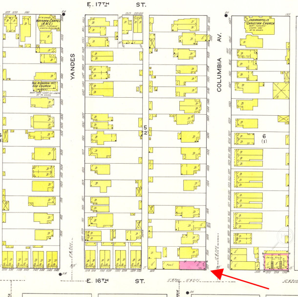 1916 Baist map shows a brick building on the northwest corner of East 16th Street and North Columbia Avenue (map courtesy of IUPUI Digital Archives)