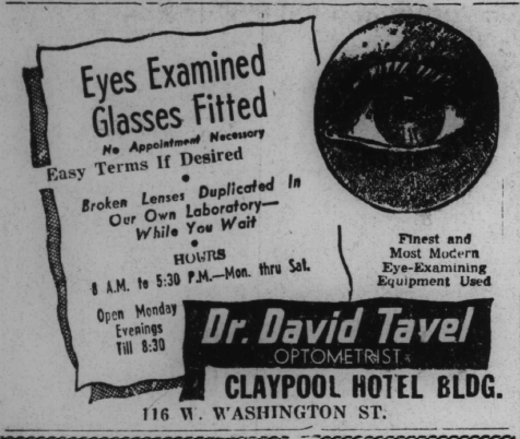 Sunday Adverts: Dr. David Tavel, Optometrist