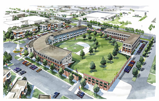 Bush Stadium is being redeveloped into an apartment complex. Drawing from Core Development website.