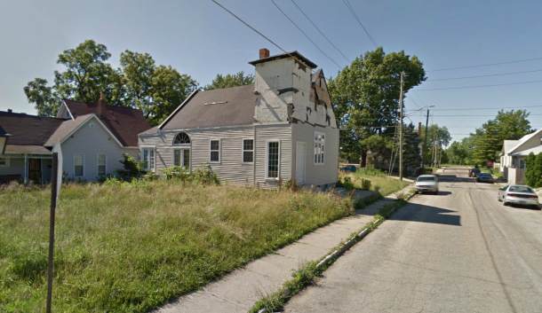 Former church on the corner of Randolph and Hoyt in Fountain Square. Google Street View 2013.