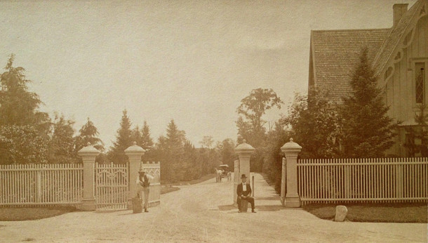 The original west entrance to Crown Hill Cemetery on the Michigan Road was completed in 1864 and eliminated in 1901 (photo courtesy of Crown Hill Cemetery)