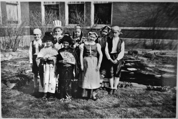 """Joanie and her classmates at School 76, dressed up for the festival, """"America is a Melting Pot."""" Courtesy of Joanie Nichols."""