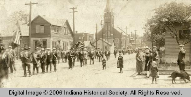 Haughville parade in the 20s. INDIANA HISTORICAL DFLKSDJFLSKDJF.