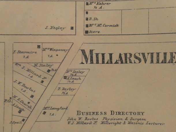 "The ""Millarsville"" portion of the 1866 ""Map of Marion County from Actual Surveys"""