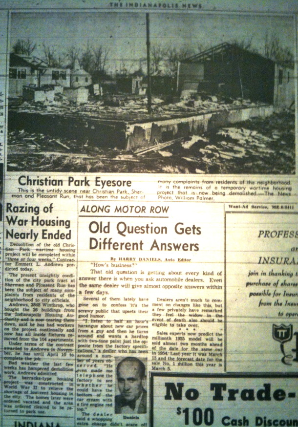 The barracks in Christian Park are torn down. Indianapolis News, February SOMETHING, 1955??