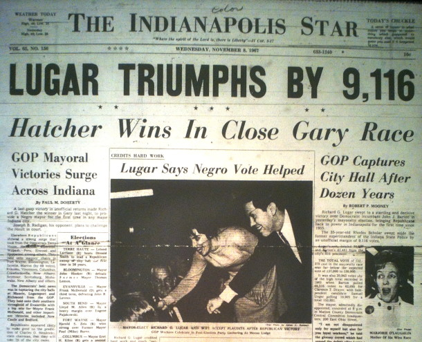 Lugar wins the Indianapolis mayoral election. Indianapolis Star,