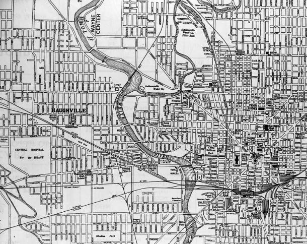 Old map of Haughville, 1930s. INDIANA HISTORI:SDLKFJSDF.