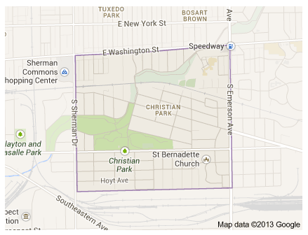 Christian Park neighborhood boundaries. Google Maps 2013.