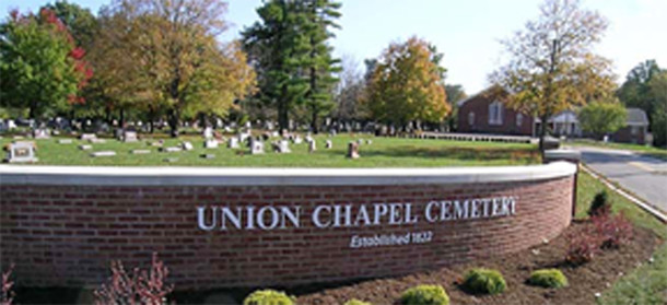 Entrance to the Union Chapel Cemetery near 80th Street and Keystone Avenue (photo courtesy of Union Chapel Cemetery website)