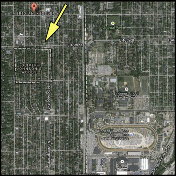 Map showing Oliver Johnson's Woods surrounded by the Meridian-Kessler neighborhood (from Google Maps)