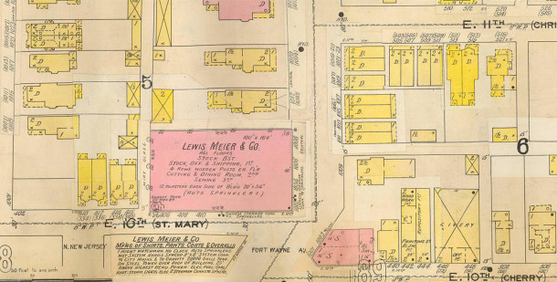 1898 Sanborn map #195 indicates the building was known as 1002 - 1008 Central Avenue in its early years (map courtesy of IUPUI Digital Library)