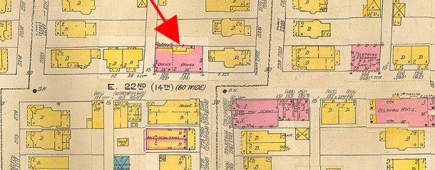 1916 Sanborn map illustrates how the commercial building was built at the rear of a home on Talbott (Sanborn map courtesy of IUPUI Digital Collection)
