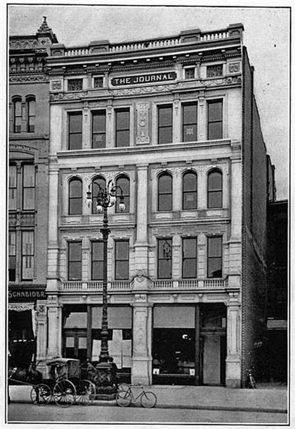 The Journal Building was constructed in 1897 in the southwest quadrant of Monument Circle with addresses of 46 and 48 (photo courtesy of the Library of Congress)