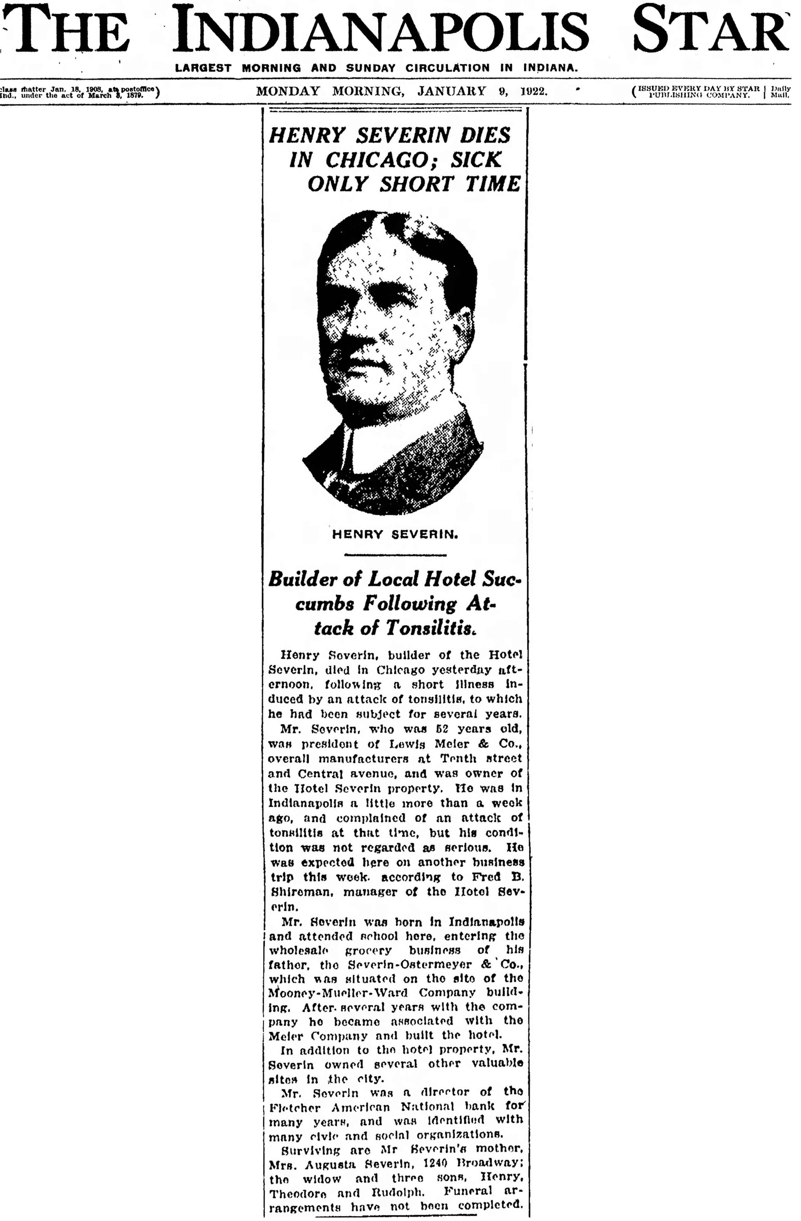 (1922 Indianapolis Star article courtesy of newspapers.com)