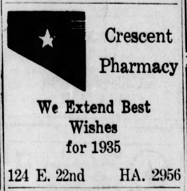 (December 31, 1923 Indianapolis Star ad courtesy of newspapers.com