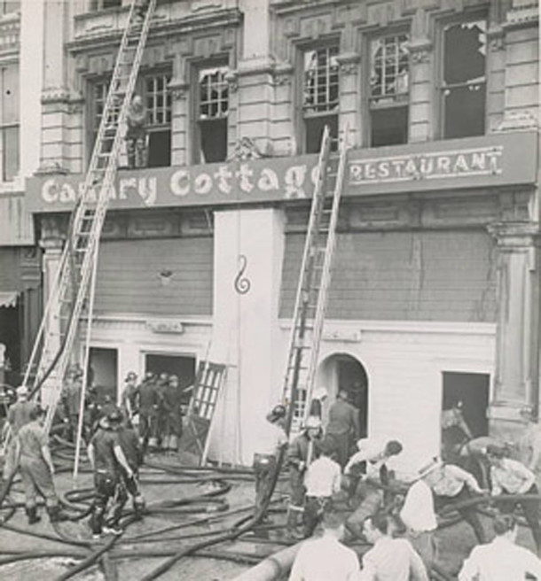 Firemen and their apparatus on the day of the Canary Cottage fire (photo courtesy of I-MCPL Digital Collections)