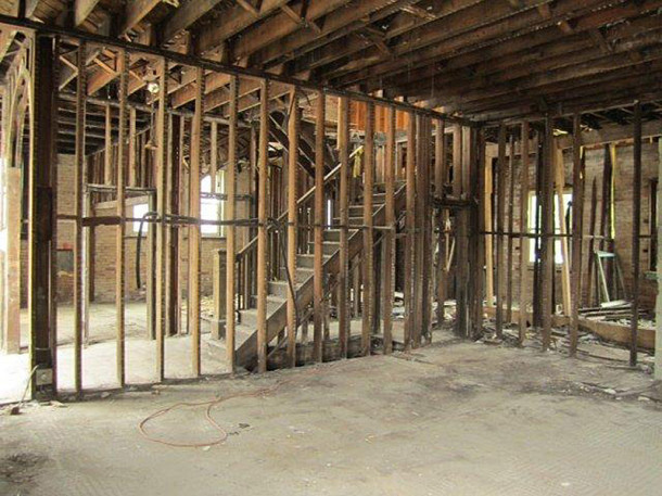 The interior of the building was completely gutted and rebuilt (photo courtesy of Woodland Realty)