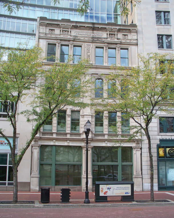 The 1897 building that was once Canary Cottage became part of Emmis Communications when it was constructed in 1998 (photo by Sharon Butsch Freeland)