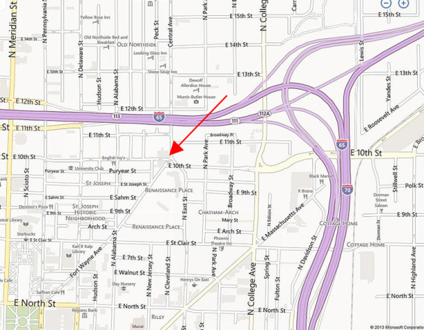 The three-story brick building at 1010 Central Avenue is immediately north of where Central Avenue curves into East Street (map courtesy of bing)