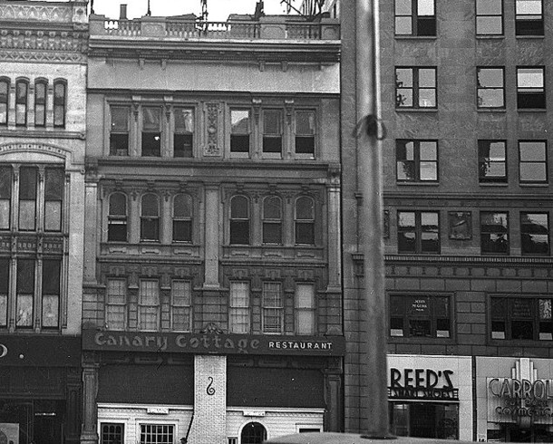 The facade of the Canary Cottage Restaurant is partially visible in this photo taken circa 1940 (photo by Naegle Advertising Company, courtesy of INDIANA HISTORICAL SOCIETY) CLICK TO ENLARGE