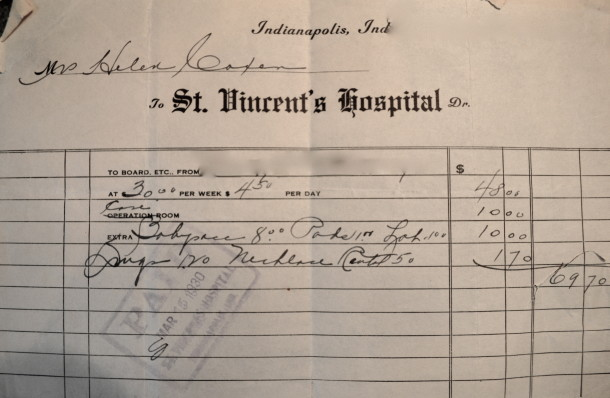 Joanie's mother's hospital bill after giving birth to Joanie. An 11-day stay for $69. (Courtesy of Joanie Nichols).
