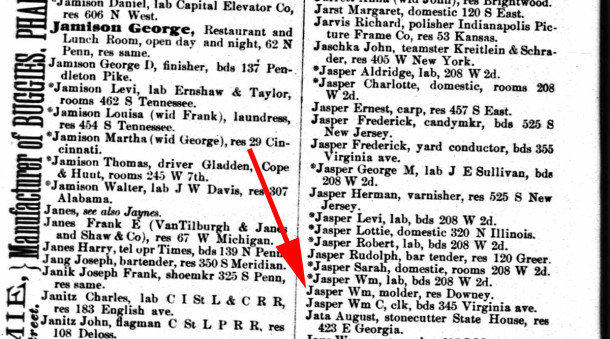 The 1886 Indianapolis City Directory was the first year William Jasper lived on Downey (scan courtesy IUPUI Digital Archives)
