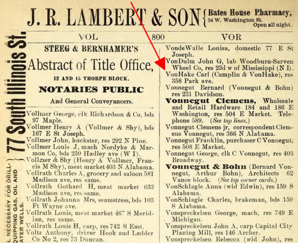 The von Hake family was residing at 358 Park Avenue by the time the 1888 Indianapolis City Directory was published   (courtesy of IUPUI Digital Archives)