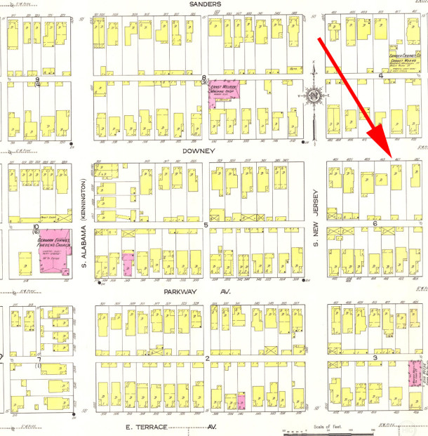 1914 map still shows the name of the street as Downey (Sanborn map courtesy of IU Bloomington Digital Archives)