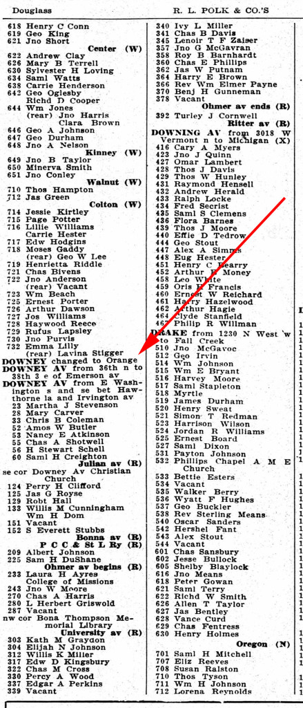 1918 Indianapolis City Directory notes the change of name from Downey to Orange Street (courtesy IUPUI Digital Library)