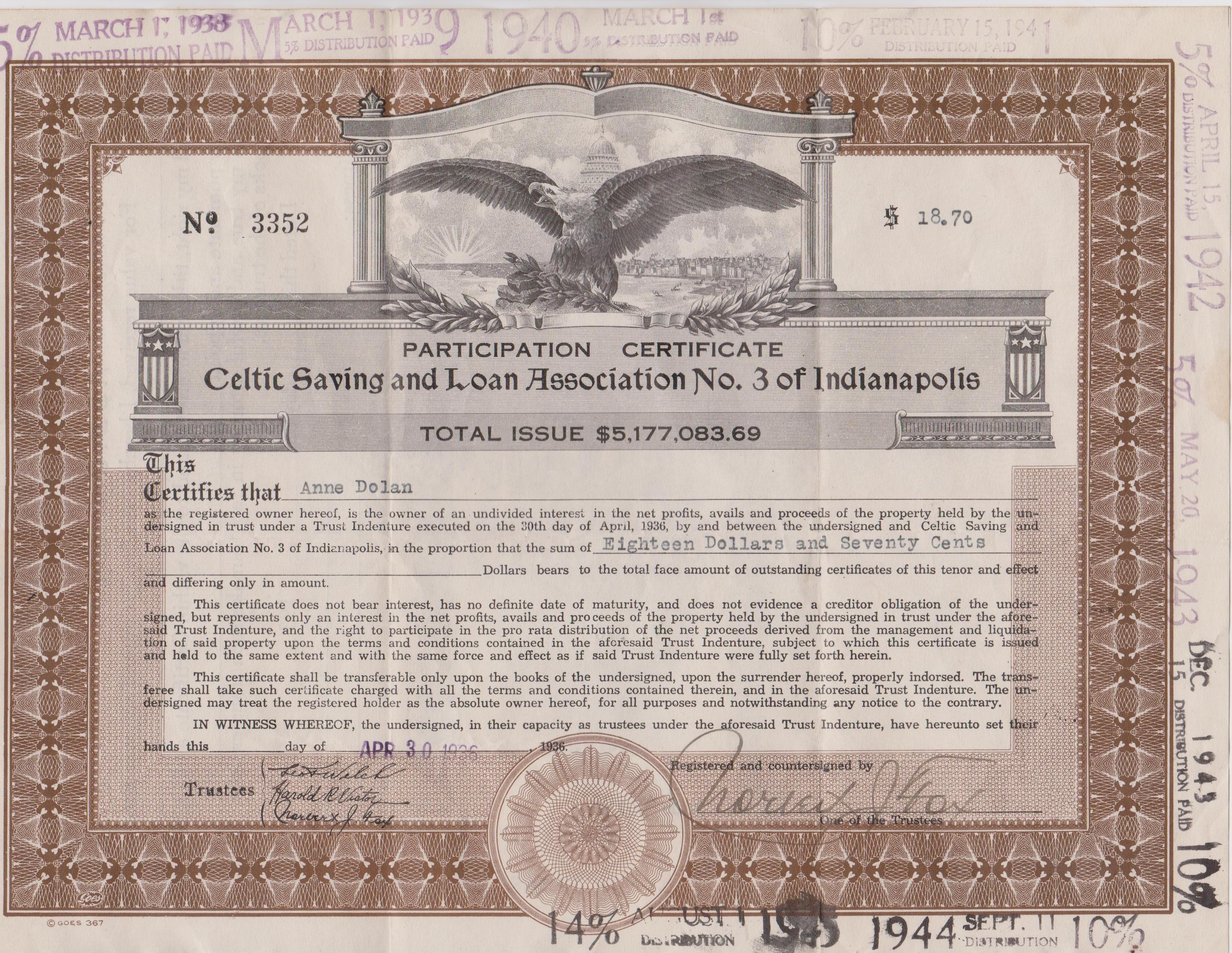 Hi mailbag celtic federal savings and loan association historic slcertificateg aiddatafo Choice Image