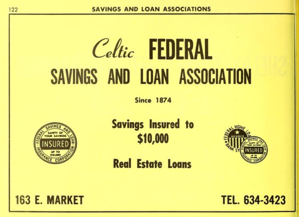 Celtic ad in the 1966 R. L. Polk Indianapolis City Directory (image courtesy of IUPUI Digital Archives)