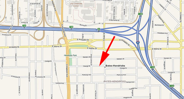 Red arrow points to 417 E. Orange Street, formerly called Downey Street until a 1916 city ordinance changed the name to Orange Street (map courtesy of Google) CLICK TO ENLARGE