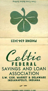 (Celtic matchbook provided by Kelly Welch Teirumniks)