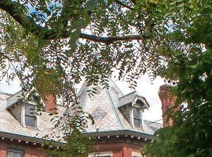 A turret above the bay windows makes even the roof a point of visual interest  (photo by Sharon Butsch Freeland)