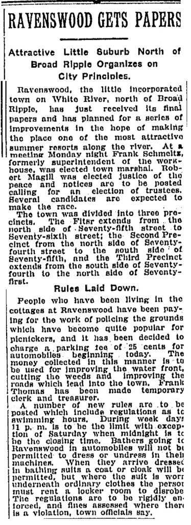 In 1919, Ravenswood decided to incorporate as a separate town (IndyStar article courtesy of Indianapolis Public Library)