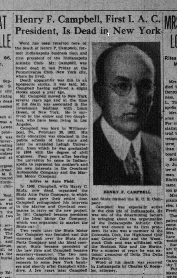 Obituary for Henry C. Campbell in The Indianapolis News (image courtesy of Indianapolis Public Library)