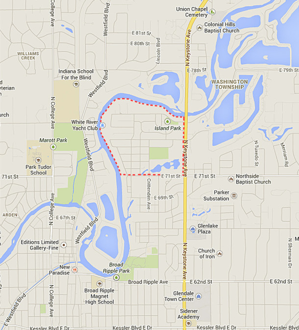 Area outlined by broken red lines is generically referred to as Ravenswood (map courtesy of Google)