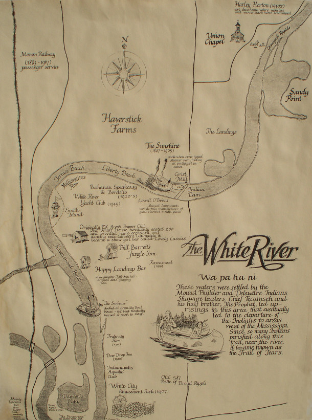 Map showing historic river-related sites in the Ravenswood area (courtesy of Susan Stamm)