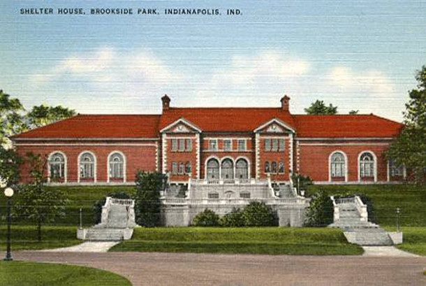 1940s Postcard of Brookside Park Shelter House (courtesy of Attic Heritage Auctions)