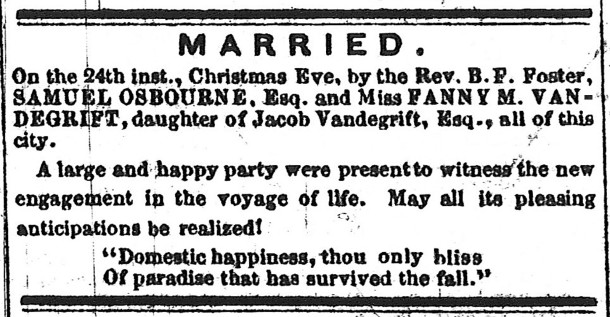 The Indianapolis Sentinel posted a notice of Samuel Osbourne and Fanny Vandegrift's marriage (scan courtesy of the Indiana State Library)