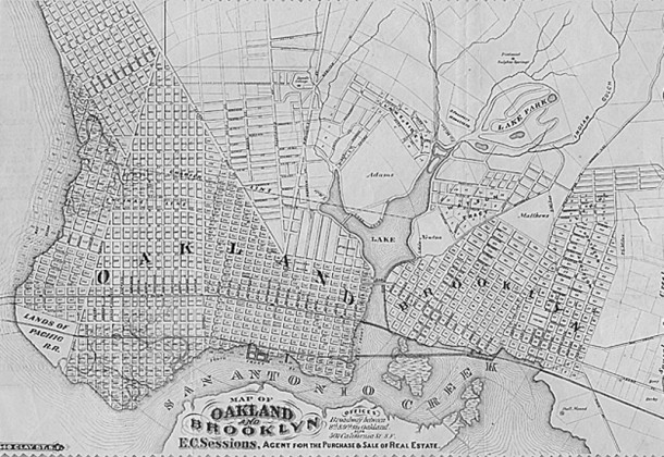 The Osbournes resided in Brooklyn, California, a small town adjacent to Oakland (G. T. Brown & Co. Lith. courtesy UC Berkeley Library)