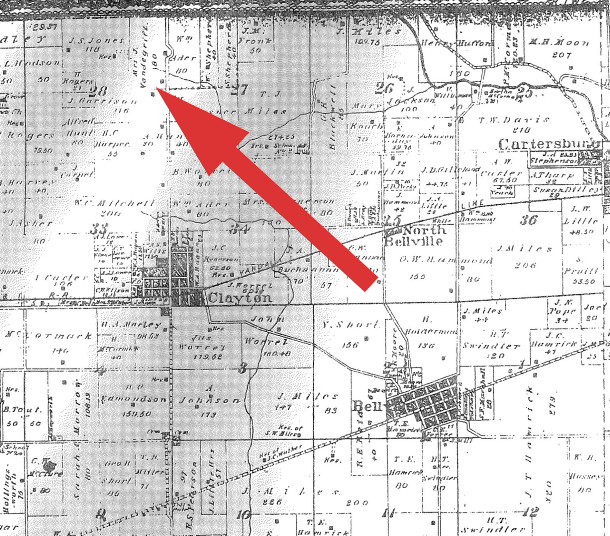 1878 Selby Co. Atlas shows the Hendricks County location of the Van de Grift farm (map courtesy of Indianapolis Public Library)