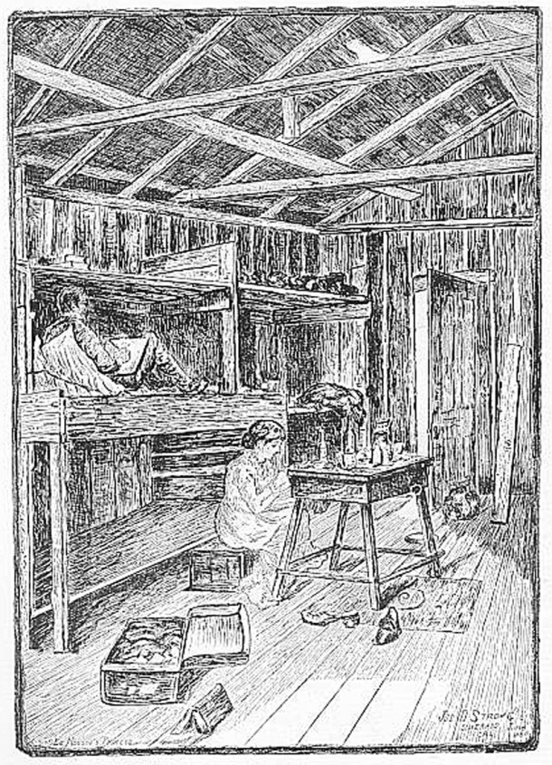 Isobel drew her mother and stepfather as they worked in the abandoned mine shack (image courtesy of Gutenberg e-book)