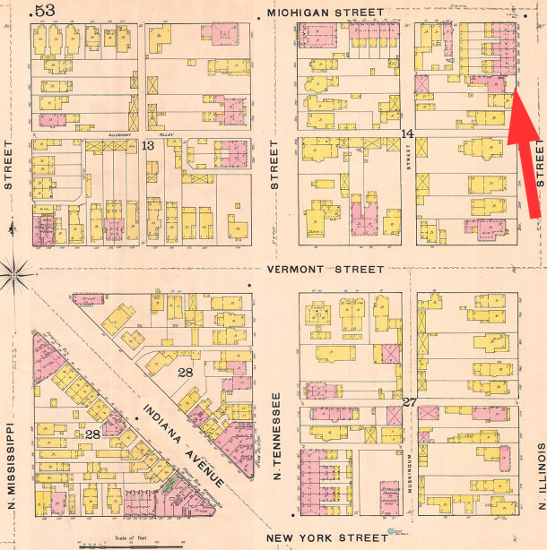 The last home in Indianapolis in which Samuel and Fanny Osbourne lived was at 236 (later renumbered to 436) N. Illinois St. (Sanborn map courtesy of IUPUI Digital Archives)